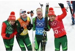 Женская сборная Беларуси по биатлону выиграла золотые медали Олимпиады