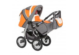 Продам коляску детскую трансформер серо-оранжевая в хорошем состоянии