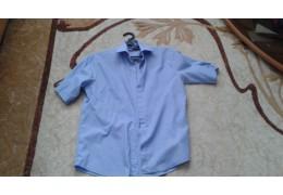 Рубашка светло - голубая с короткими рукавами