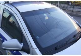 Агрессивный пьяный водитель разбил лобовое стекло в машине ГАИ