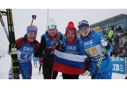 Российские биатлонистки победили в эстафете на этапе КМ в Оберхофе