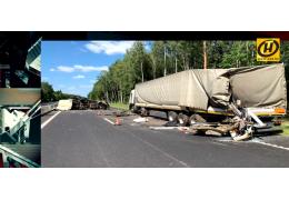Страшная авария на трассе Минск-Гродно. Столкновение грузовиков